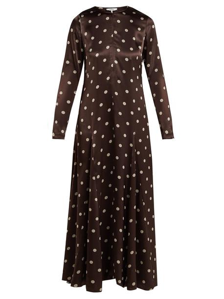 GANNI Cameron polka-dot satin maxi dress in brown / print