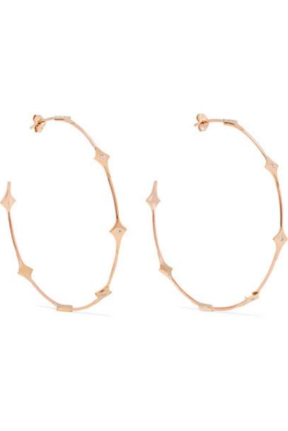 Diane Kordas - Shield 18-karat Rose Gold Diamond Hoop Earrings