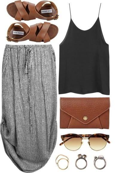 skirt dress white grey tank top tee midi midi skirt black bottoms tank sandals jewelry summer spring jeans pants clothes dress bag shoes shirt purse blouse stripe string maxi maxi skirt stripes