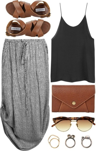 skirt clothes dress bag shoes sunglasses dress shirt purse maxi skirt stripes pinterest black white flowy summer blouse grey stripes string maxi tank top midi midi skirt grey bottoms tank top sandals jewelry spring jeans t-shirt pants blank gray maxi skirt style striped skirt