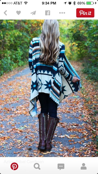 cardigan aztec clothes gypsy style blue aztec sweater hippie