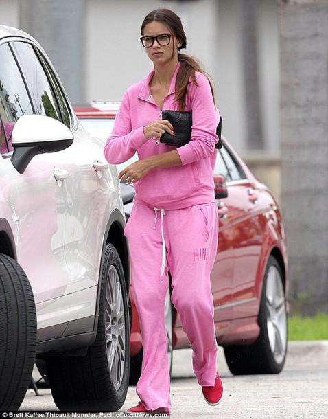 sweater pink tracksuit sportswear victoria's secret adriana lima fashion clothes