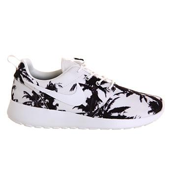 Nike Roshe Run White Black Palm Print
