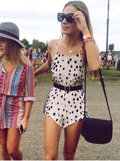 romper,timber,pretty,spotted,polka dots,cream,black,spotted dress,streetstyle,festival
