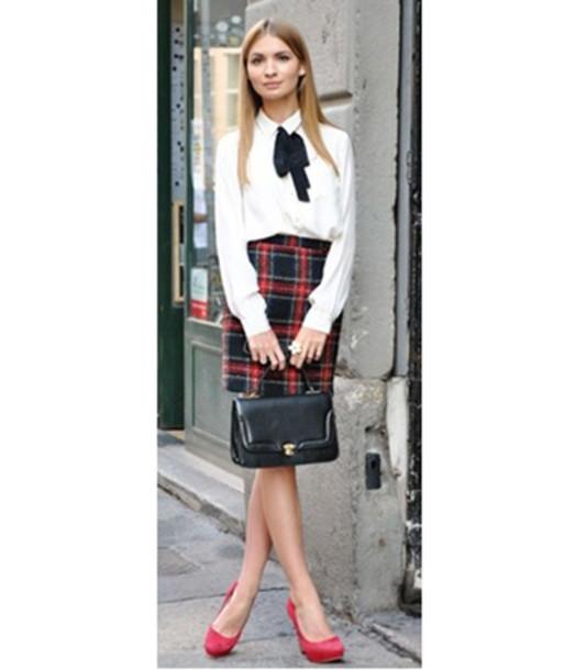 skirt tartan heels blouse