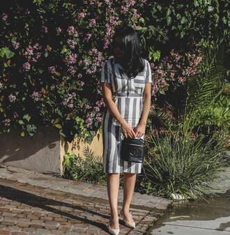 goodbadandfab blogger dress shoes bag sunglasses chanel bag striped dress pumps spring outfits
