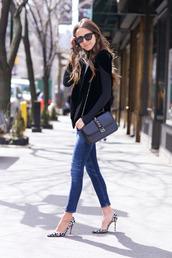 something navy,blogger,jeans,sunglasses,bag,heels,valentino bag,mini shoulder bag,d'orsay pumps