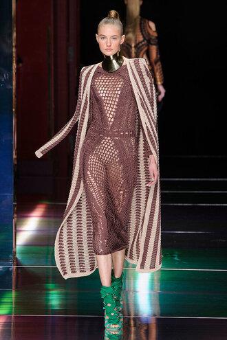 dress midi dress coat cardigan knitwear fashion week balmain