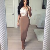 dress,classy central,midi skirt,midi dress,nude,sexy,kim kardashian,amrezy,fashion,style,fall outfits,chic,skirt,outfit,outfit idea,summer outfits,date outfit,office outfits,cute outfits,spring outfits,party outfits,high waisted skirt,high heels,heels,shoes,sexy shoes,cute high heels,cute top,top,see through,bracelets,ring,jewelry,jewels,pencil skirt,nude high heels,cute,all nude everything
