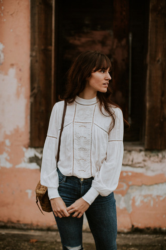 blouse tumblr white blouse top white top denim jeans blue jeans bag basket bag boxed bag french girl style