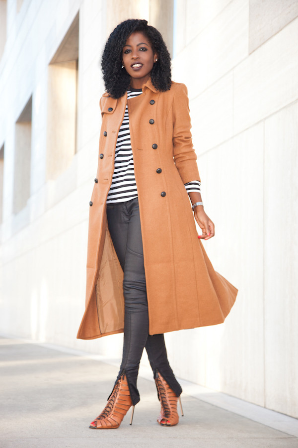 Brown Wool Blend Long Trench Coat from EXPRESS