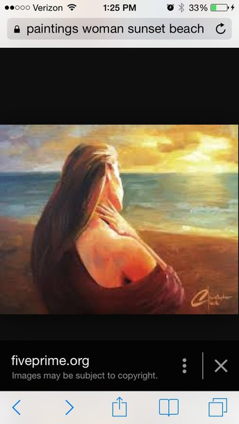 home accessory art painting of woman at beachh