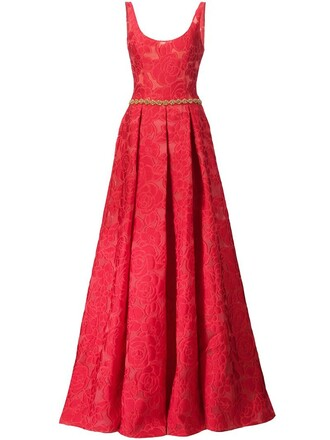 gown rose pattern red dress