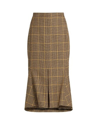 skirt flare wool brown