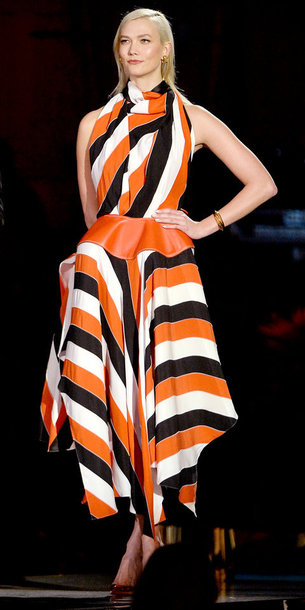 dress karlie kloss model asymmetrical asymmetrical dress stripes striped dress