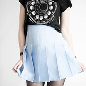 skirt,baby blue skirt,pleated skirt,girly,outfit,light blue,pastel blue,baby blue,tennis skirt,blue skirt,back to school,school uniform,cheerleading