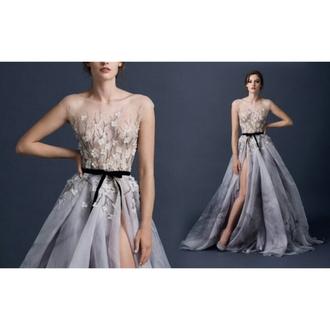 dress floral prom dress wedding dress sheer violet bow belt