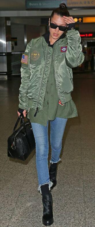 jacket bomber jacket bella hadid jeans model off-duty sweatshirt