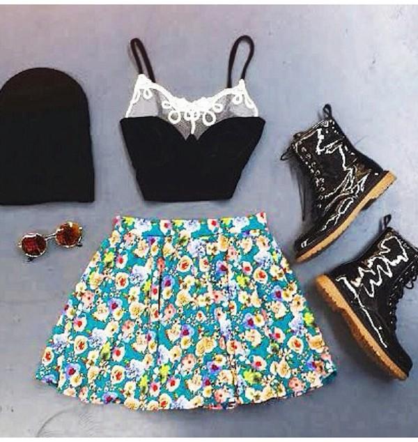skirt skirt floral skirt crop tops beanie retro round sunglasses shoes shirt sunglasses