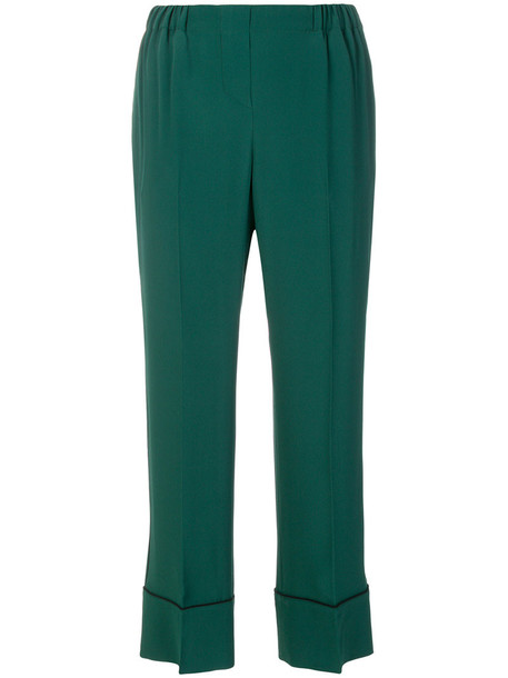 No21 cropped high women silk green pants