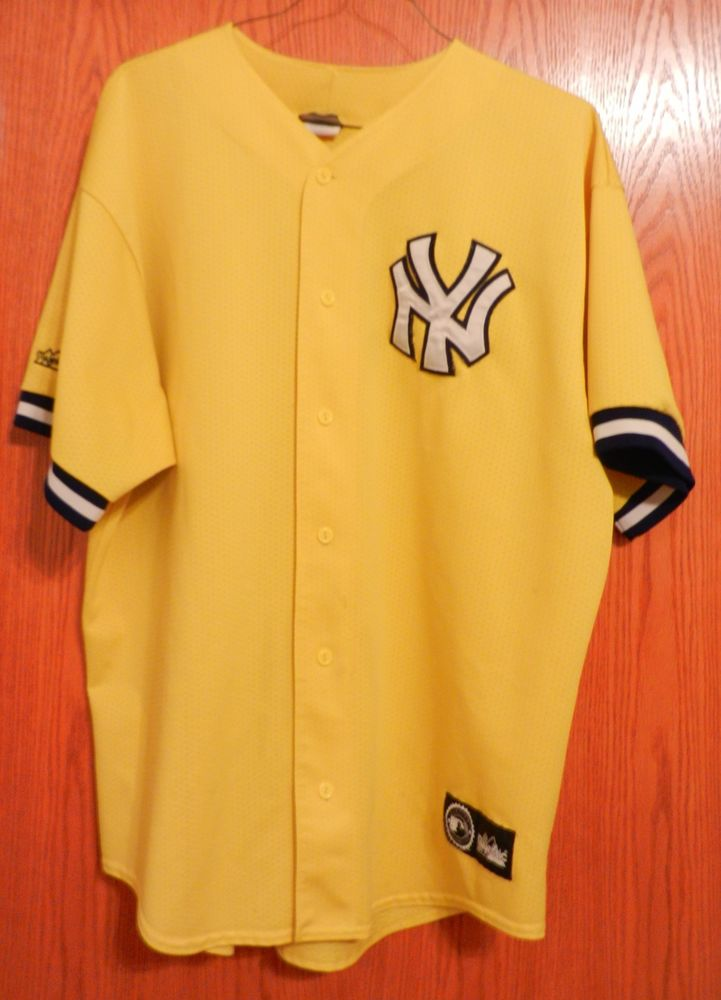 New York Yankee Majestic Yellow Baseball Jersey MLB Blank Adult Sewn Logo XXL | eBay