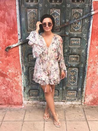 romper spring outfits spring dress floral demi lovato instagram sandals blouse shorts dress