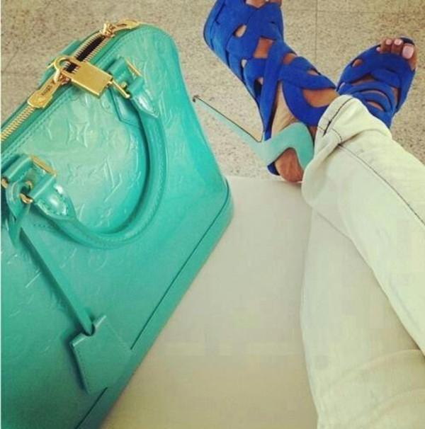 shoes high heels bag sandals blue strappy heels