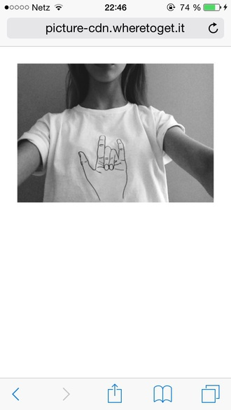 shirt hand pretty white white t-shirt tumblr shirt rock'n'roll