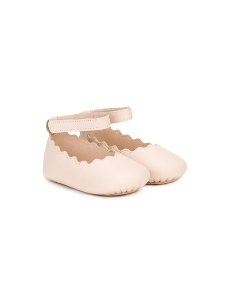 Chloé Kids ankle strap leather nude shoes