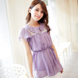 Lace-Panel Chiffon Blouse, Purple , One Size - Tokyo Fashion | YESSTYLE
