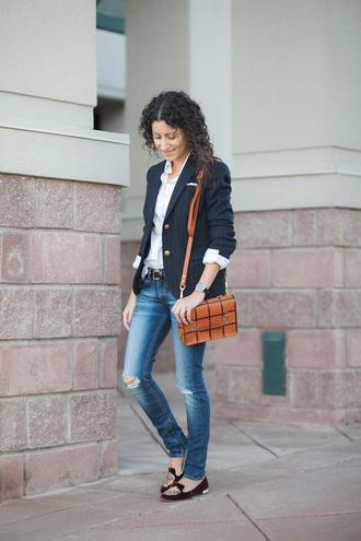 alterations needed blogger satchel bag grid blazer ripped jeans loafers jacket shirt jeans shoes bag belt jewels