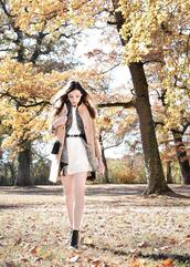 maxce,blogger,coat,scarf,belt,dress,shoes,bag,ankle boots,fall outfits,nude coat