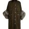 Fur-cuff waxed-cotton coat