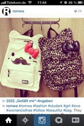 bag,leopard print,hello kitty,moustache,hipster,crazy,girly