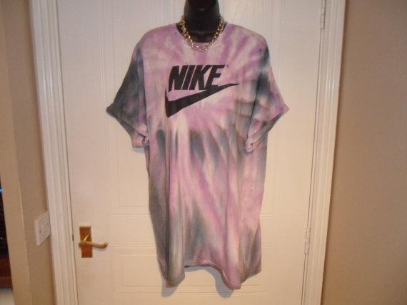 Unisex customised acid wash tie dye nike t shirt sz xlarge festival fashion ibiza