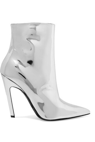 leather ankle boots boots ankle boots silver leather shoes