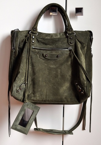 bag suede purse olive green balenciaga purse suede suede bag designer bag luxury green