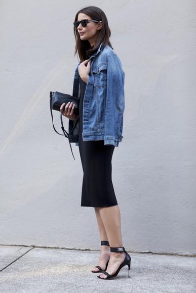 denim blogger jacket harper & harley sunglasses bag clutch high heels