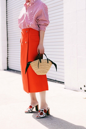 skirt,tumblr,midi skirt,red skirt,shirt,red shirt,stripes,striped shirt,bag,basket bag,mules,floral,floral shoes,spring outfits,spring work outfit