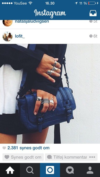 bag blue purse jewels ring