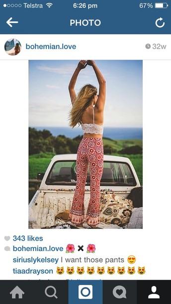 pants boho hippie red pink