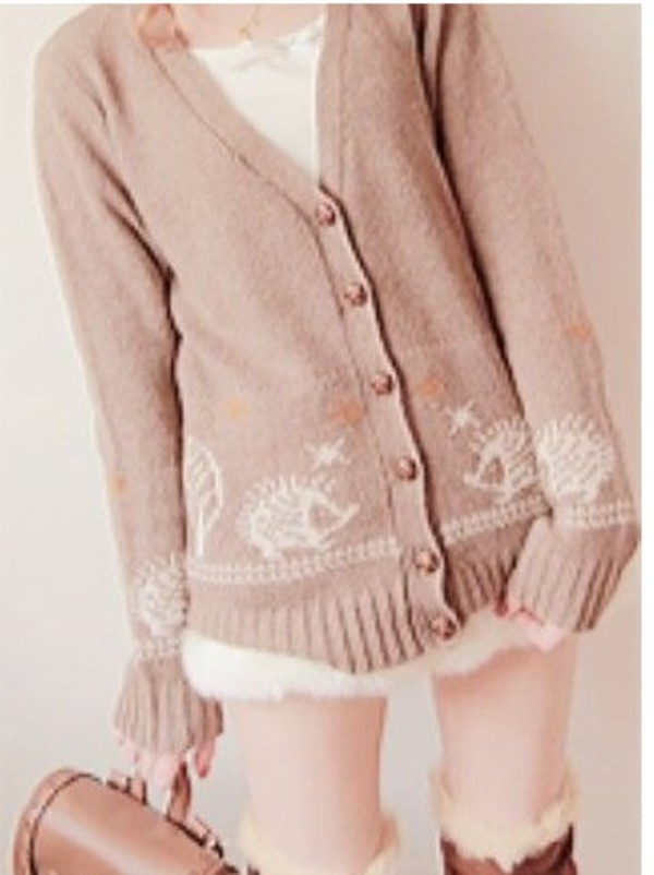 cardigan hedgehog kawaii fall sweater sweater lolita