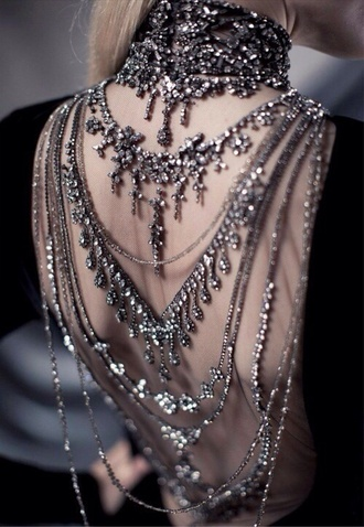 jewels prom dress backless prom dress open back jewelery gorgeous shine prom goth diamonds backless dress grunge grunge jewelry punk jewelry bag beads beaded dress dress sequin dress bling ralph lauren grey