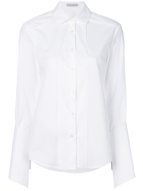 Palmer / Harding shirt pleated women spandex white cotton top