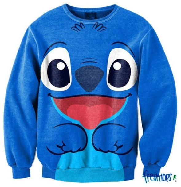 sweater lilo&stitch blue lilo and stitch stitch disney sweater disney printed sweater walt disney lilo stitch sweater