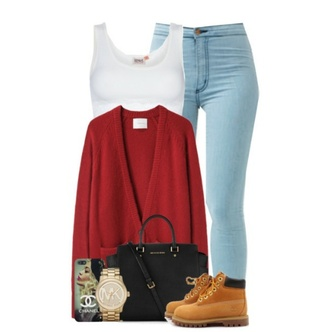 sweater red sweater timberland boots shoes white top pants