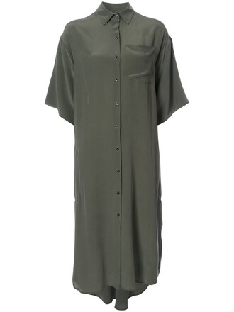 dress shirt dress long women silk green