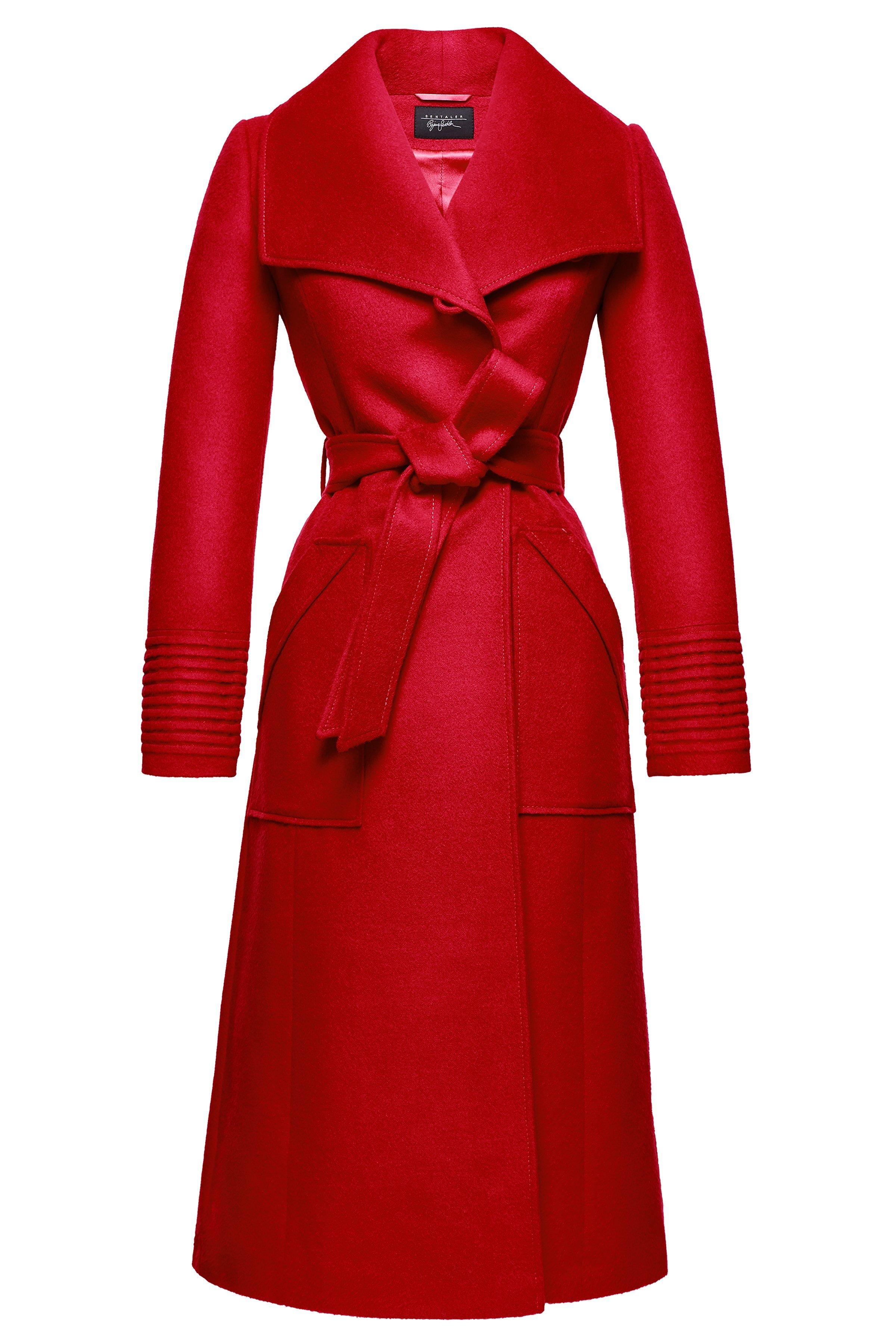 NEW Long Wide Collar Wrap Coat, Red – SENTALER