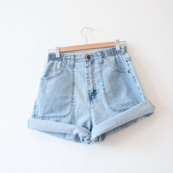 elastic shorts denim pockets rolled short beach summer lightdenim high waisted short elastic waist waistband hem rolled hem high wasted shorts denim jean shorts tumblr coat hanger denim shorts boyfriend jeans pants blue cool high waisted denim shorts