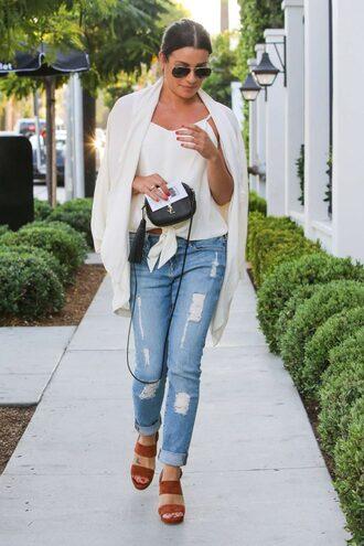 top cardigan jeans lea michele sandals sunglasses streetstyle